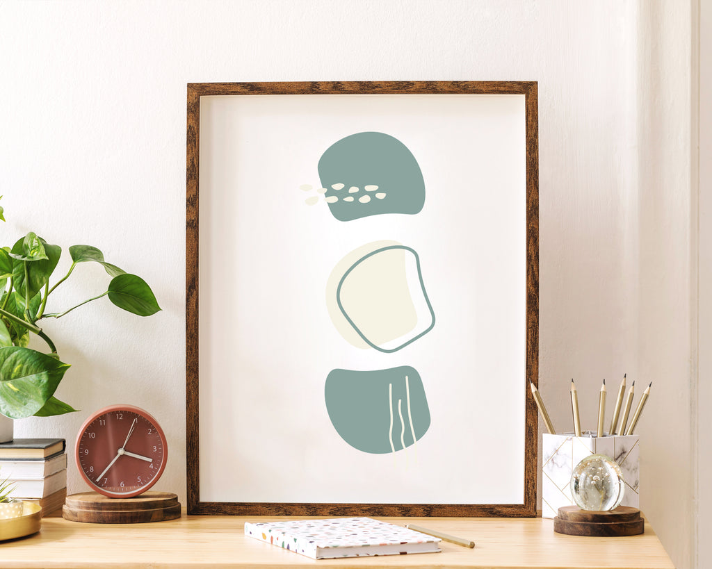 Scandinavian Green Pattern Wall Art Print