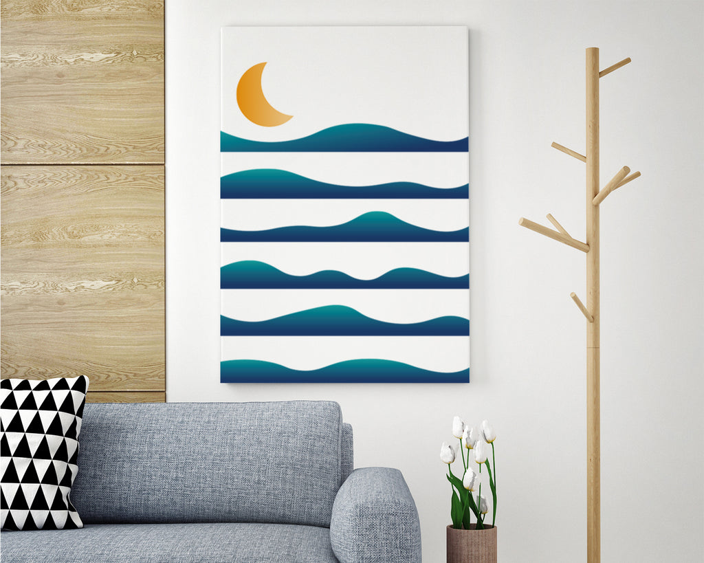 Layered Waves Over The Moon Landscape Art Print