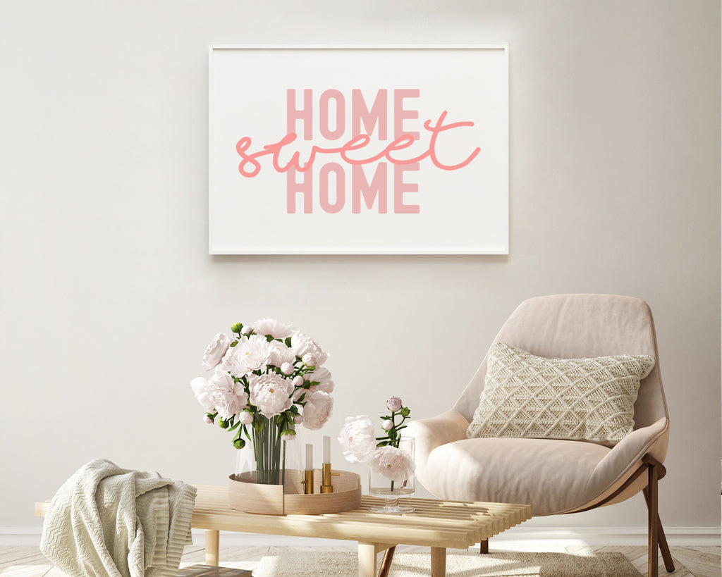 Home Sweet Home Typography Wall Art Print