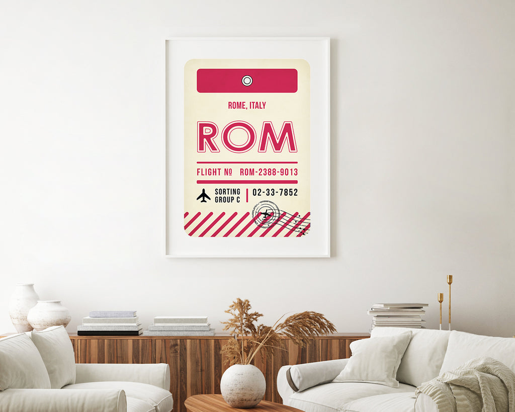 Rome, Italy Luggage Tag Minimal Travel Poster
