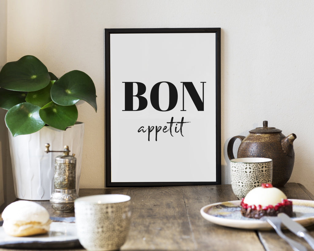 Bon Appetit Typography Quote Minimal Poster Print