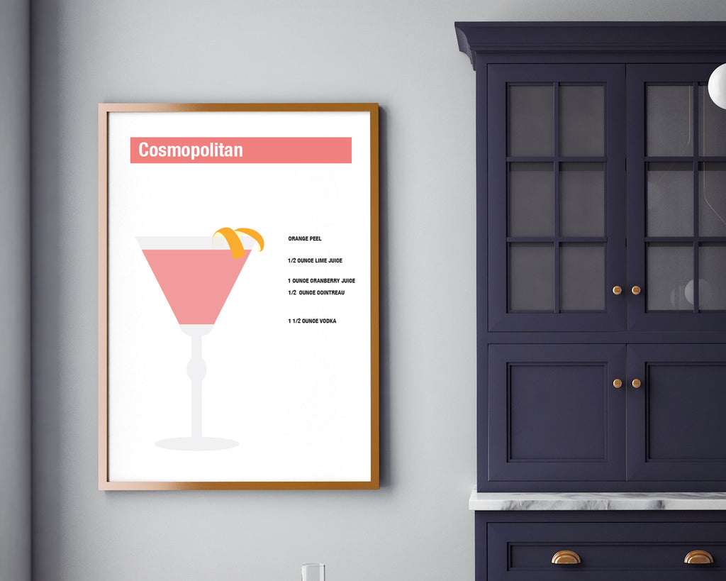 Cosmopolitan Cocktail Drink Recipe Print | Affordable & Stylish Wall Art