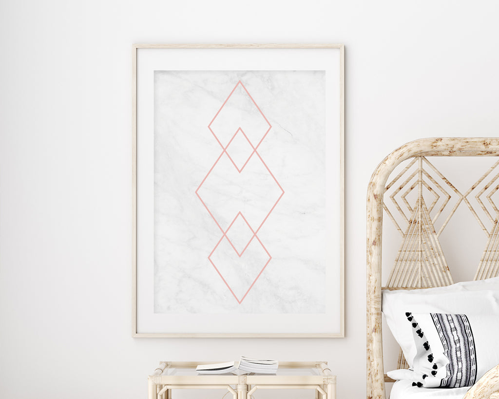 Marble and Rose Gold Diamond Wall Art Print