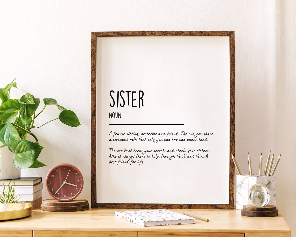 Sister Definition Quote Wall Art Print