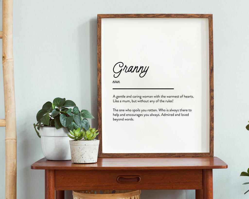 Grandma Definition Quote Minimal Poster Print