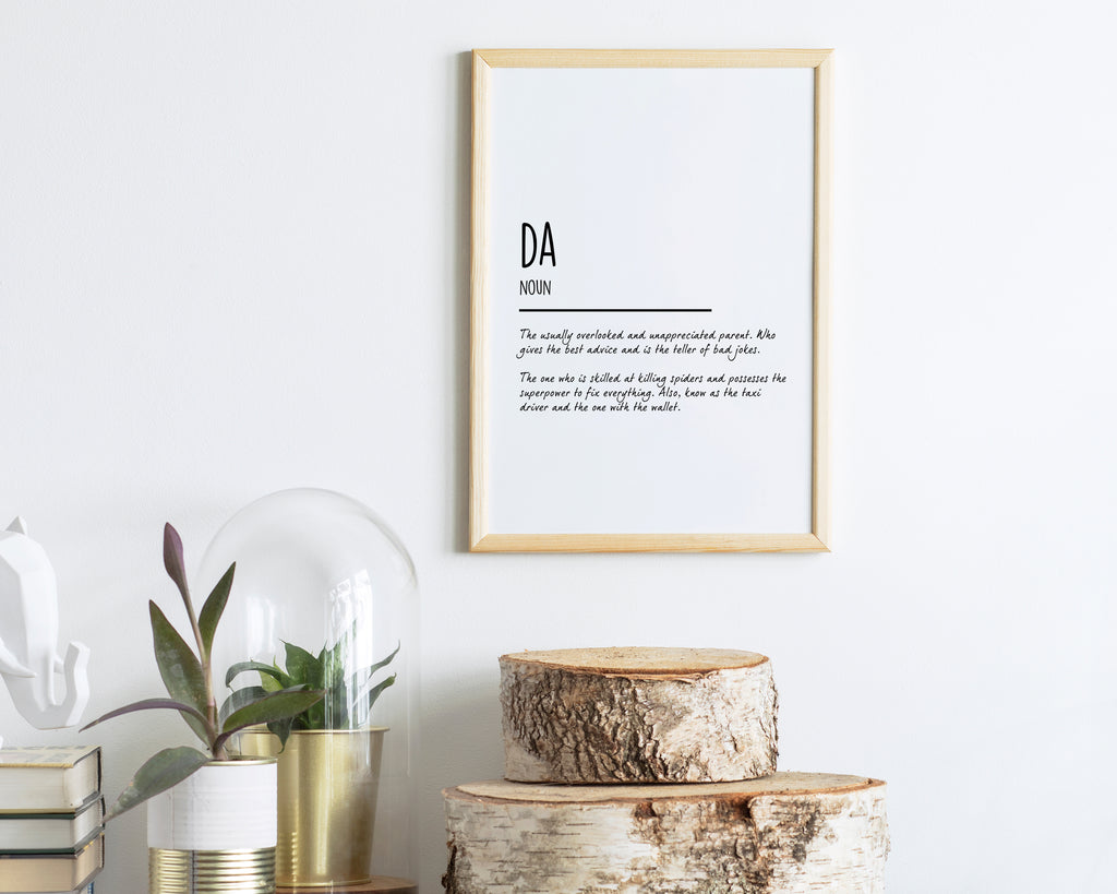 Dad Definition Quote Minimal Poster Print