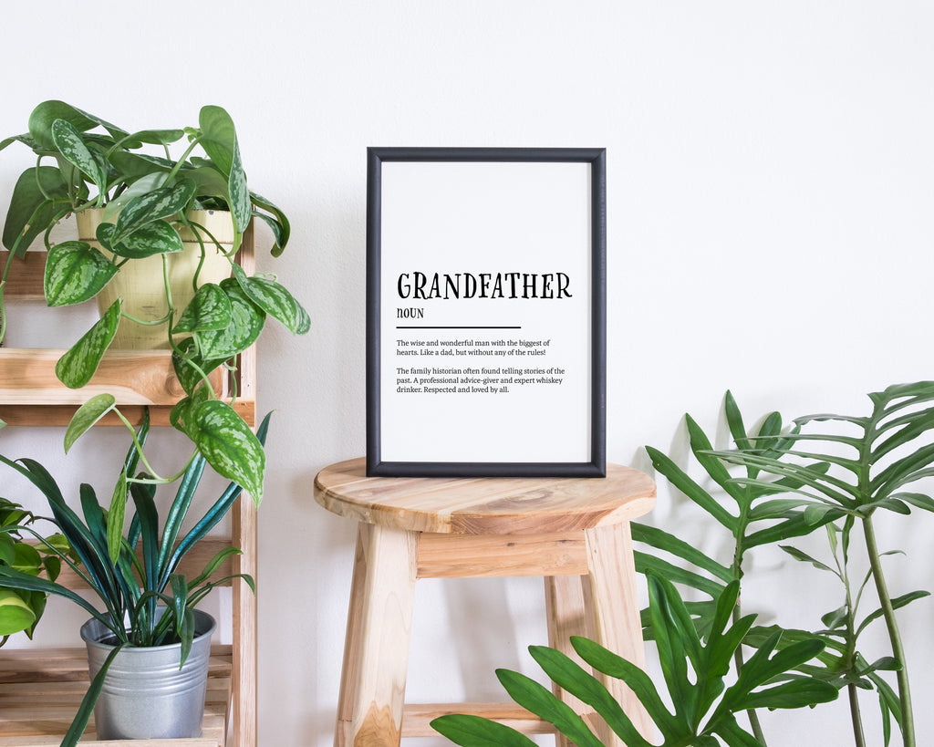 Grandad Definition Quote Minimal Poster Print