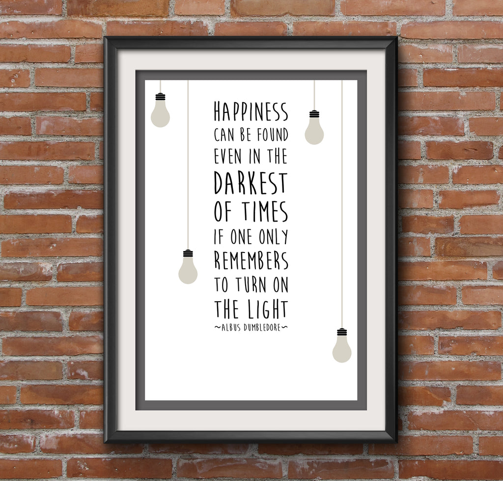 "Harry Potter Dumbledore Quote ""Happiness"" Minimal Film Poster"