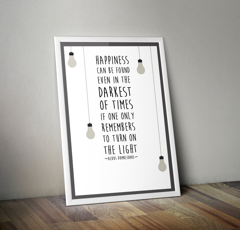 "Harry Potter Dumbledore Quote ""Happiness"" Film Movie Poster"