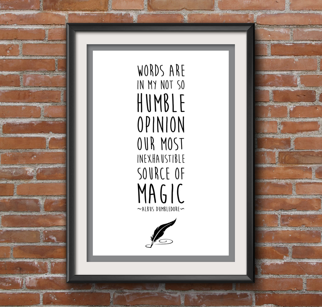 "Harry Potter Dumbledore Quote ""Magic"" Minimal Film Poster"