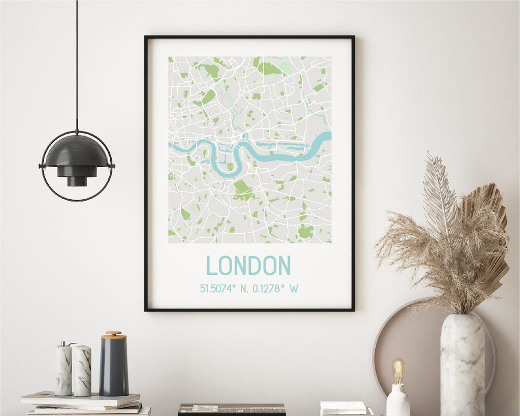 Personalised Blue & Green City Map Travel Poster