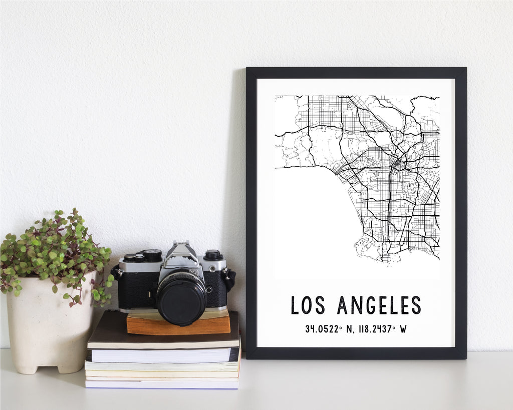 Personalised Monochrome Black & White City Map Travel Poster
