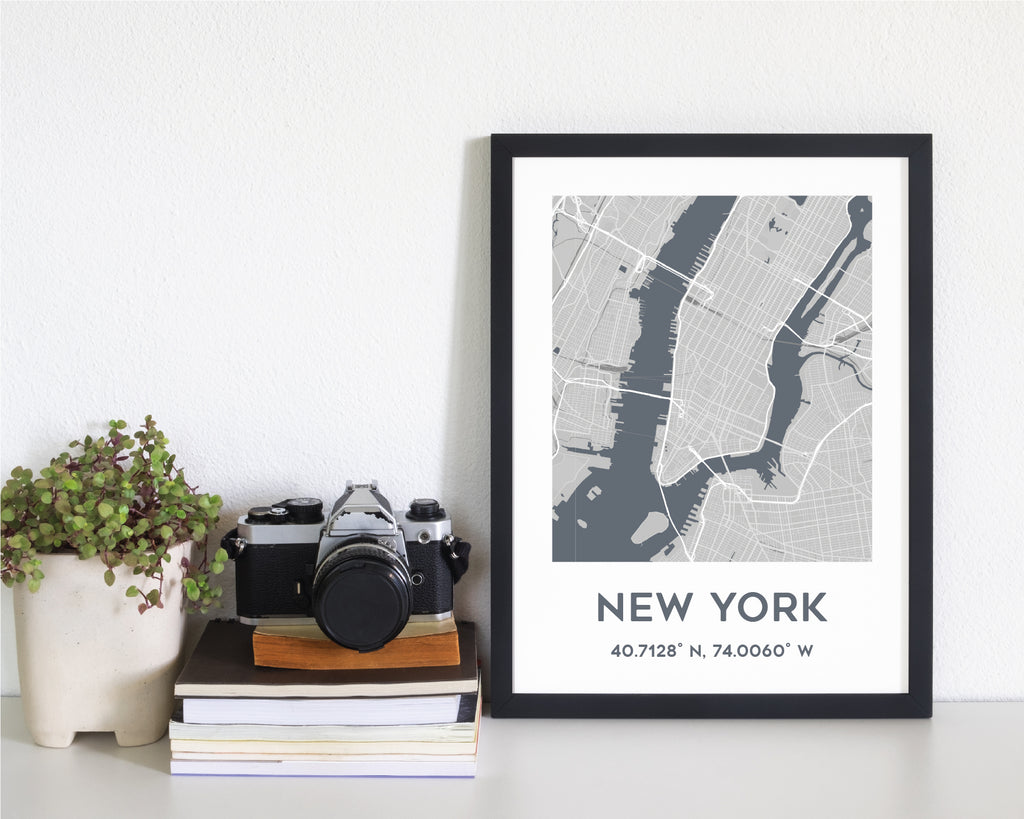 Personalised Grey City Map Travel Wall Art Print