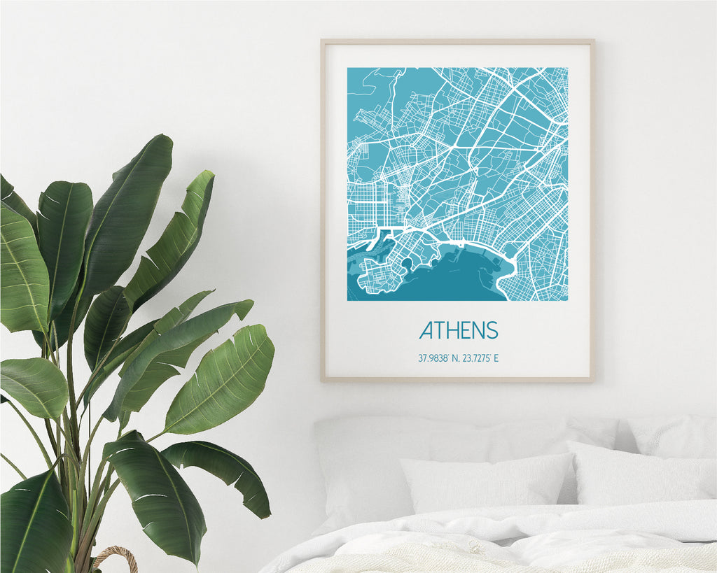 Personalised Blue City Map Travel Wall Art Print