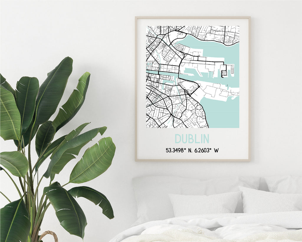 Personalised Turquoise and Black City Map Travel Poster