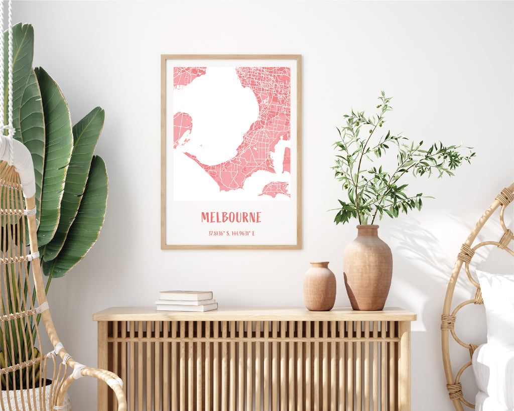Personalised Pink City Map Travel Poster