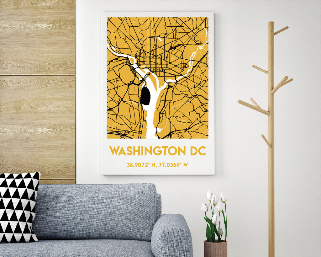 Personalised Yellow City Map Travel Poster