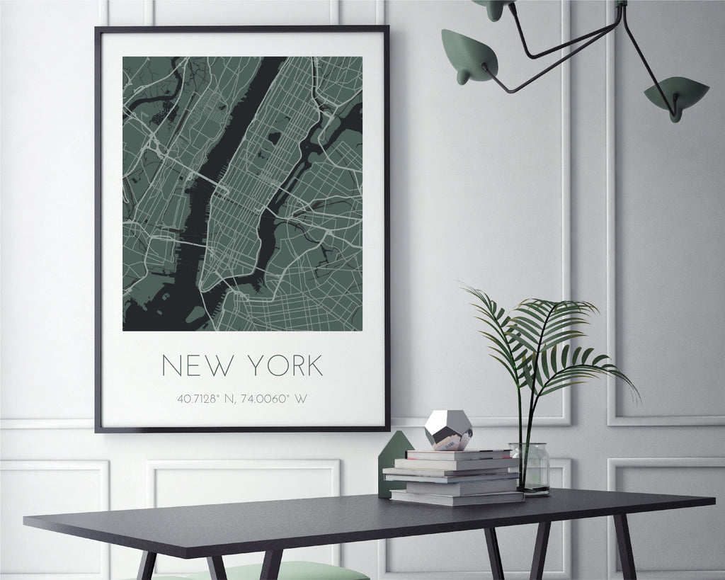 Personalised Green City Map Travel Wall Art Print