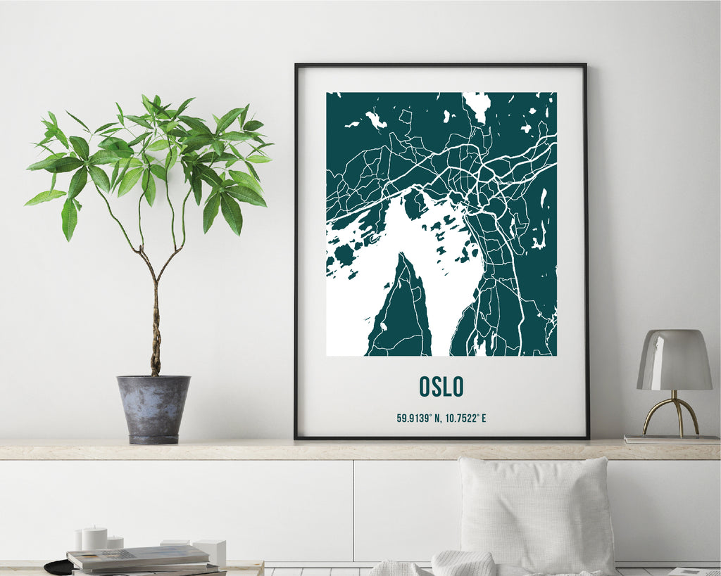 Personalised Deep Green City Map Travel Wall Art Print