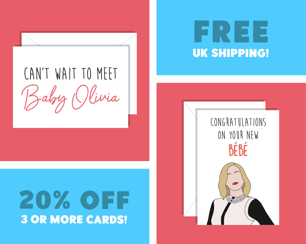 Personalised Congratulations On Your New Bebe, Moira Rose Schitt's Creek New Bay CardPersonalised Congratulations On Your New Bebe, Moira Rose Schitt's Creek New Bebe Card