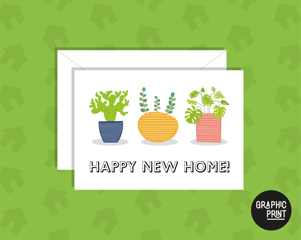 Happy New Home, Plant Pot Moving House Card, New Home Owner Card