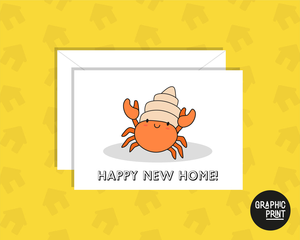 Happy New Home, Moving Hermit Crab, Moving House Card, New Home Owner Card