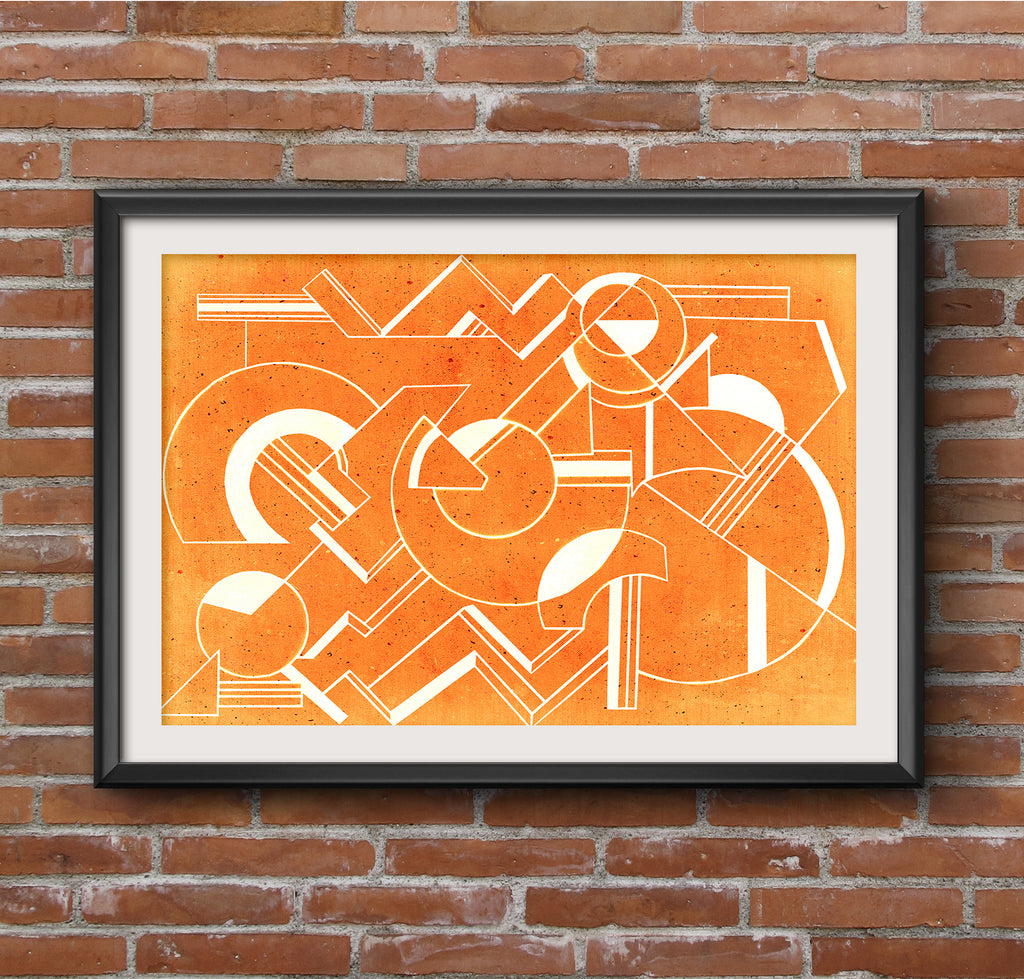 Geometric Art Deco Orange Minimal Poster