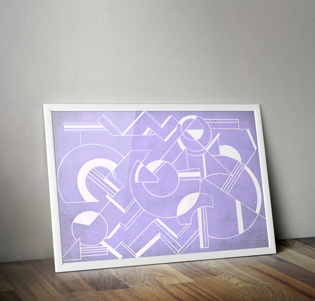 Geometric Art Deco Purple Minimal Poster
