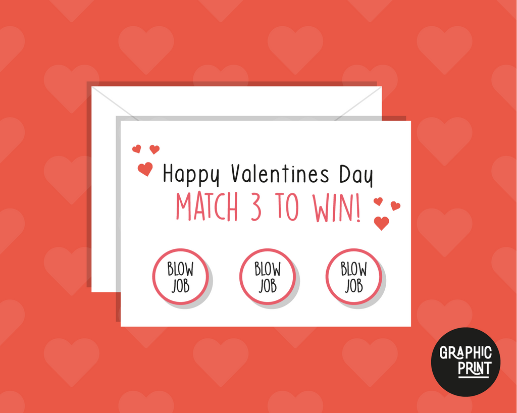 Happy Valentines Day Scratch Card, Match 3 To Win, Funny Valentine's Day Card