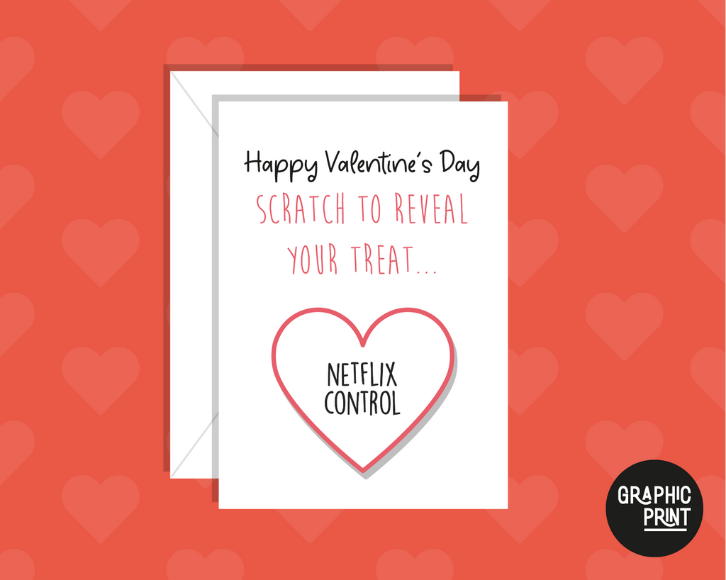 Happy Valentines Day Scratch To Reveal Your Treat! Netflix Control Funny Valentine's Day Card