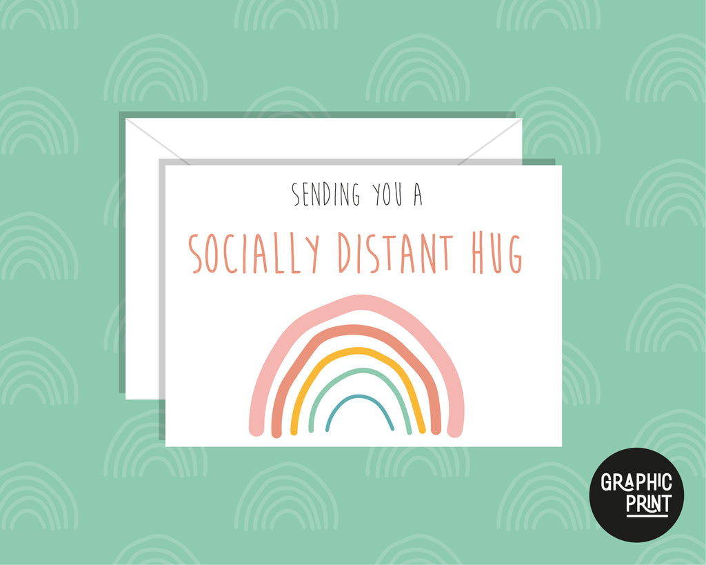 Sending You A Socially Distanced Hug, Missing You Greeting Card