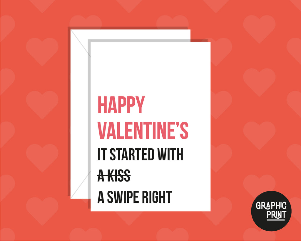 It Started With A Tinder Swipe Right Funny Valentine's Day Card