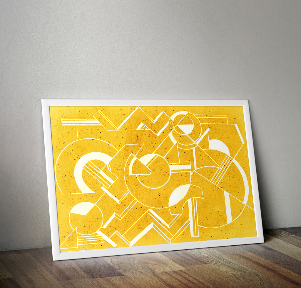 Geometric Art Deco Yellow Minimal Poster