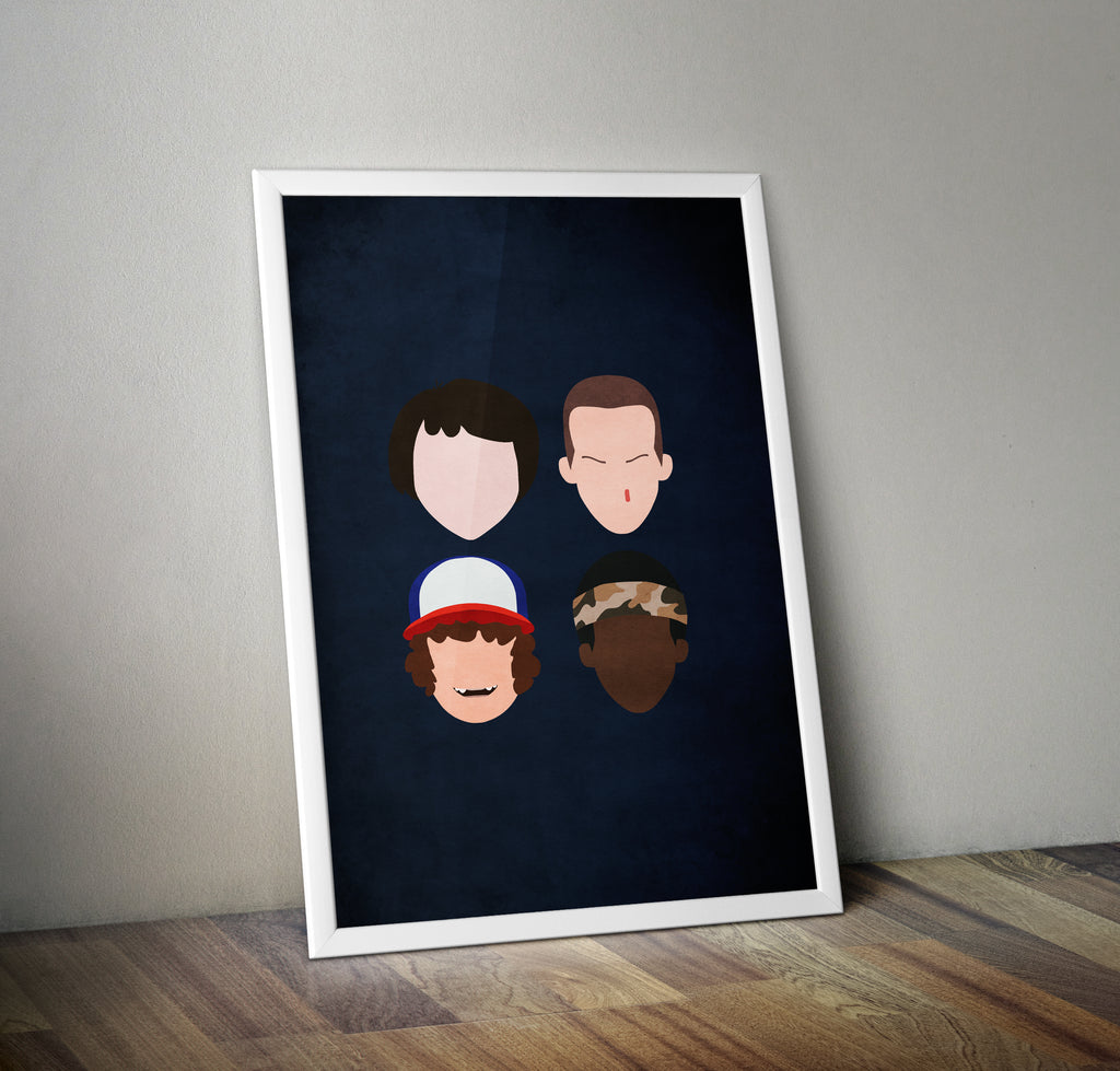 Stranger Things Faces Minimal TV Poster