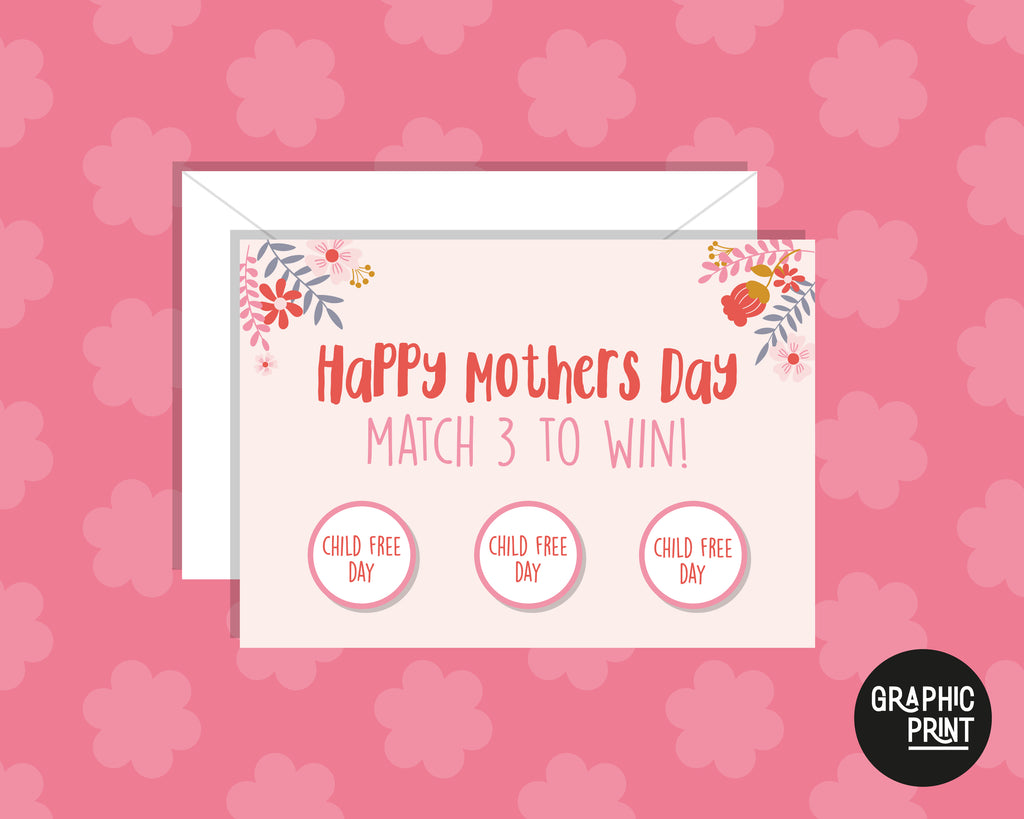 Mother's Day Scratch Card, Match 3 To Win Child Free Day, Happy Mother's Day Card