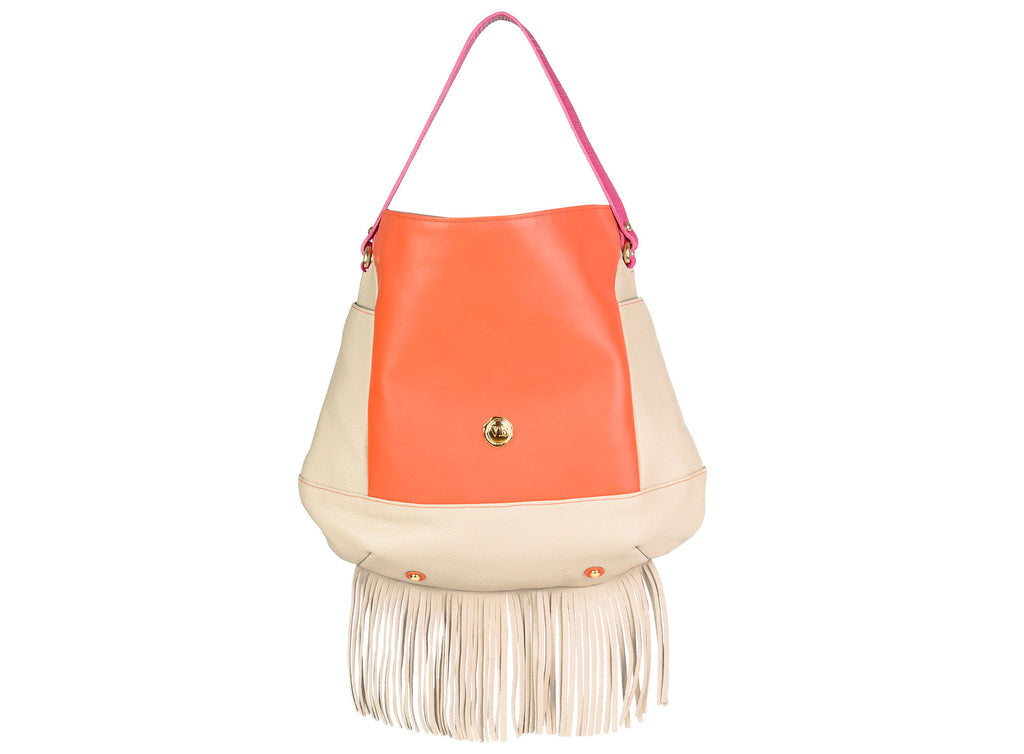 AYLEN TOTE BAG BEIGE AND ORANGE LEATHER