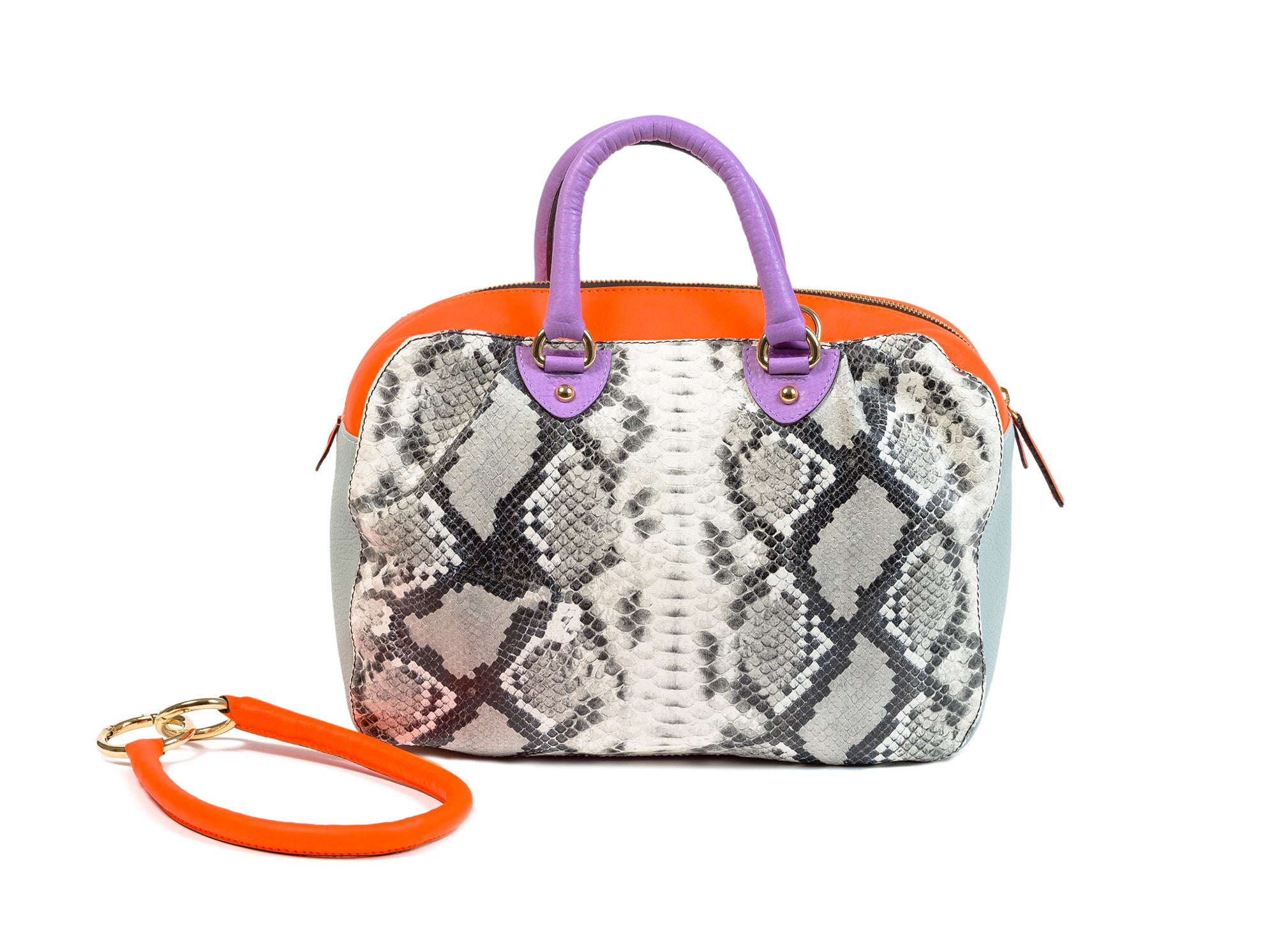 KALOS MEDIUM BAG SNAKE PRINT LEATHER IN BLACK AND WHITE