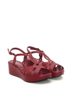 CHERRY LEATHER WEDGE SANDAL