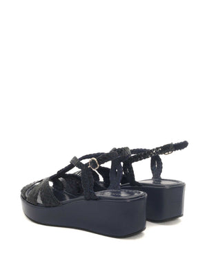NAVY LEATHER WEDGE SANDAL