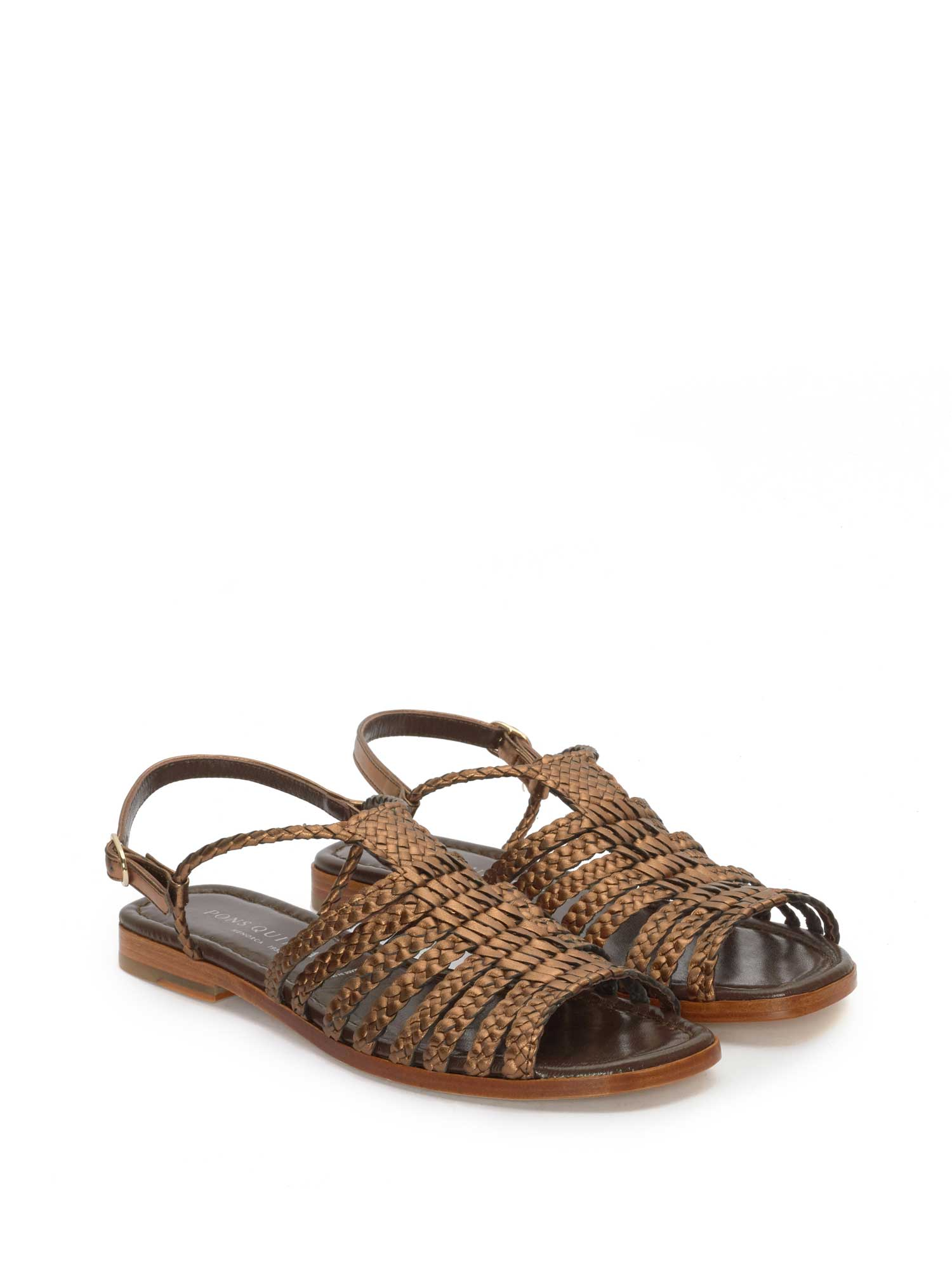 COPPER LEATHER FLAT SANDAL