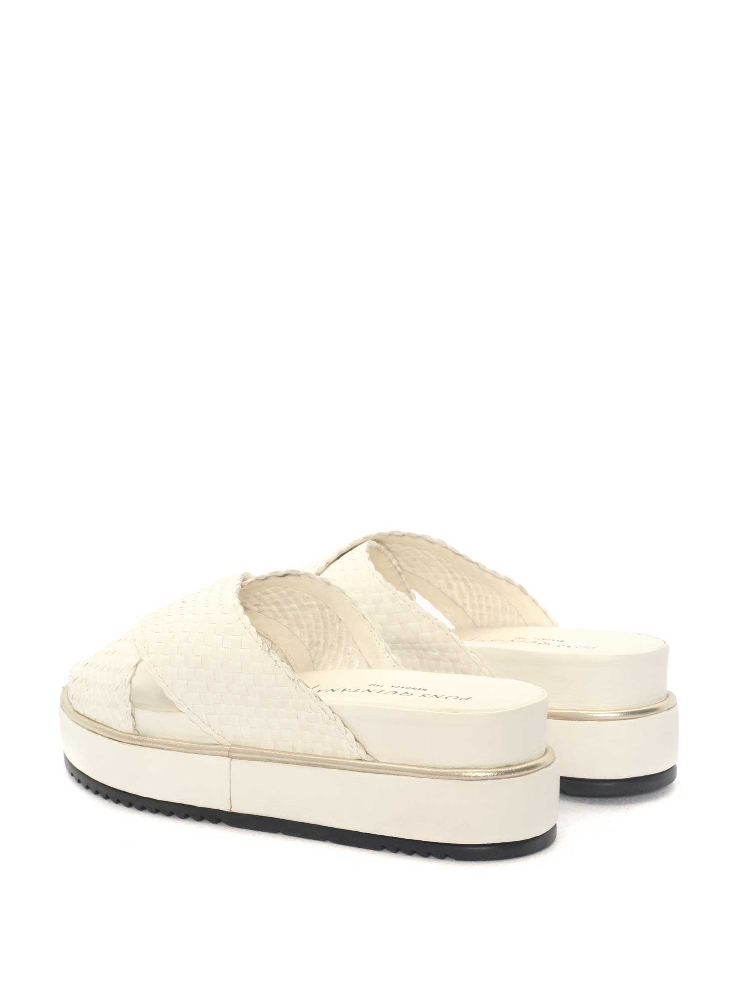 MILK WET LEATHER WEDGE SANDAL