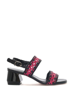 BLACK-FUCHSIA LEATHER SANDAL