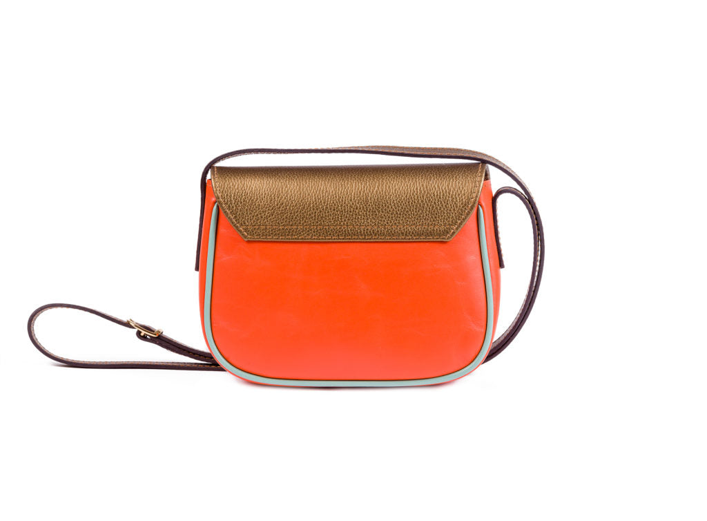 ARWEN SMALL BAG TOMATO ORANGE AND GOLD CALF LEATHER