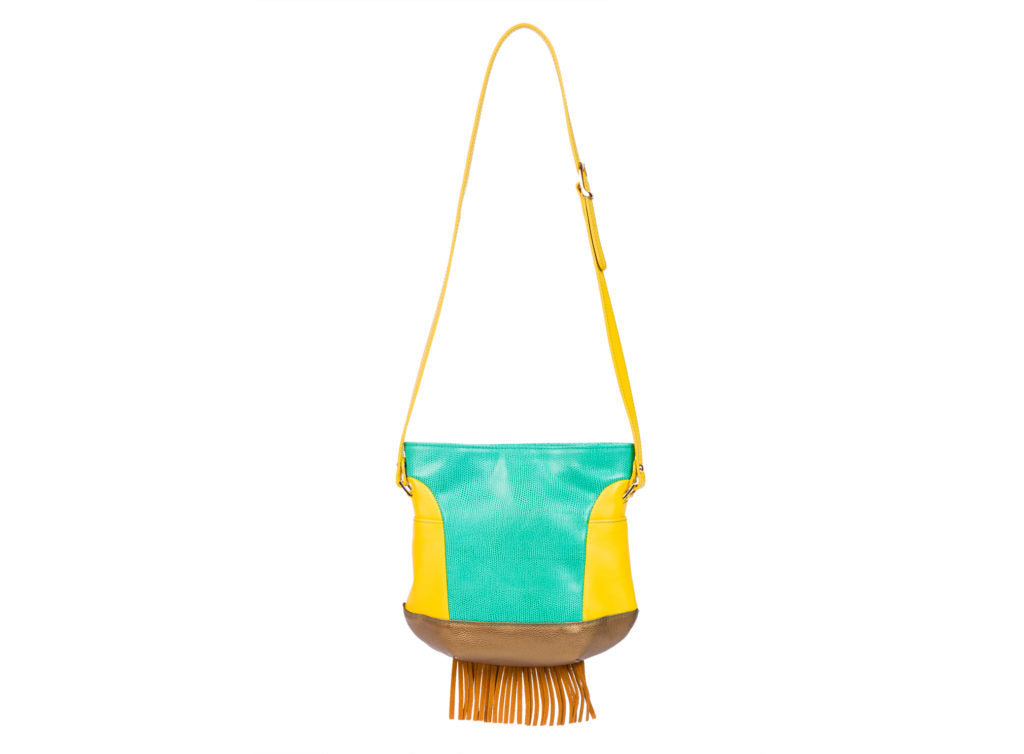AYLEN TOY JADE AND OCHER GOLD CALF LEATHER