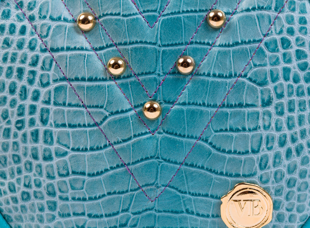 BUBANJ  ROUND TOY BAG TURQUOISE CROCODILE