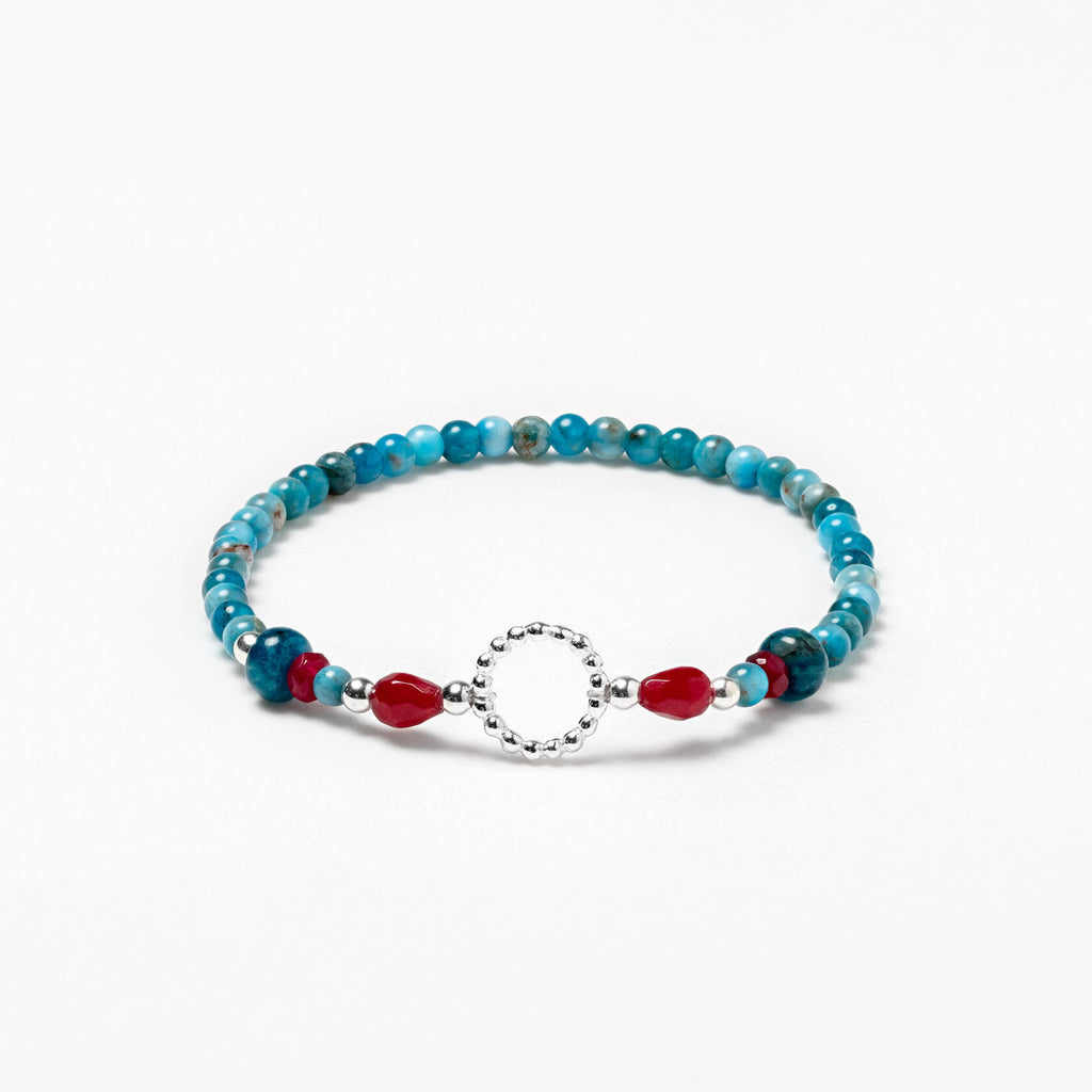 Elastic Bracelet made of Silver Hook, Apatite and Agate