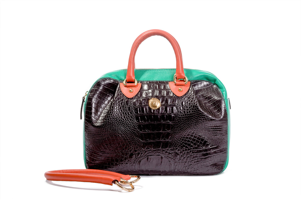 KALOS MEDIUM BAG BLACK AND JADE CROCODILE EFFECT CALF LEATHER