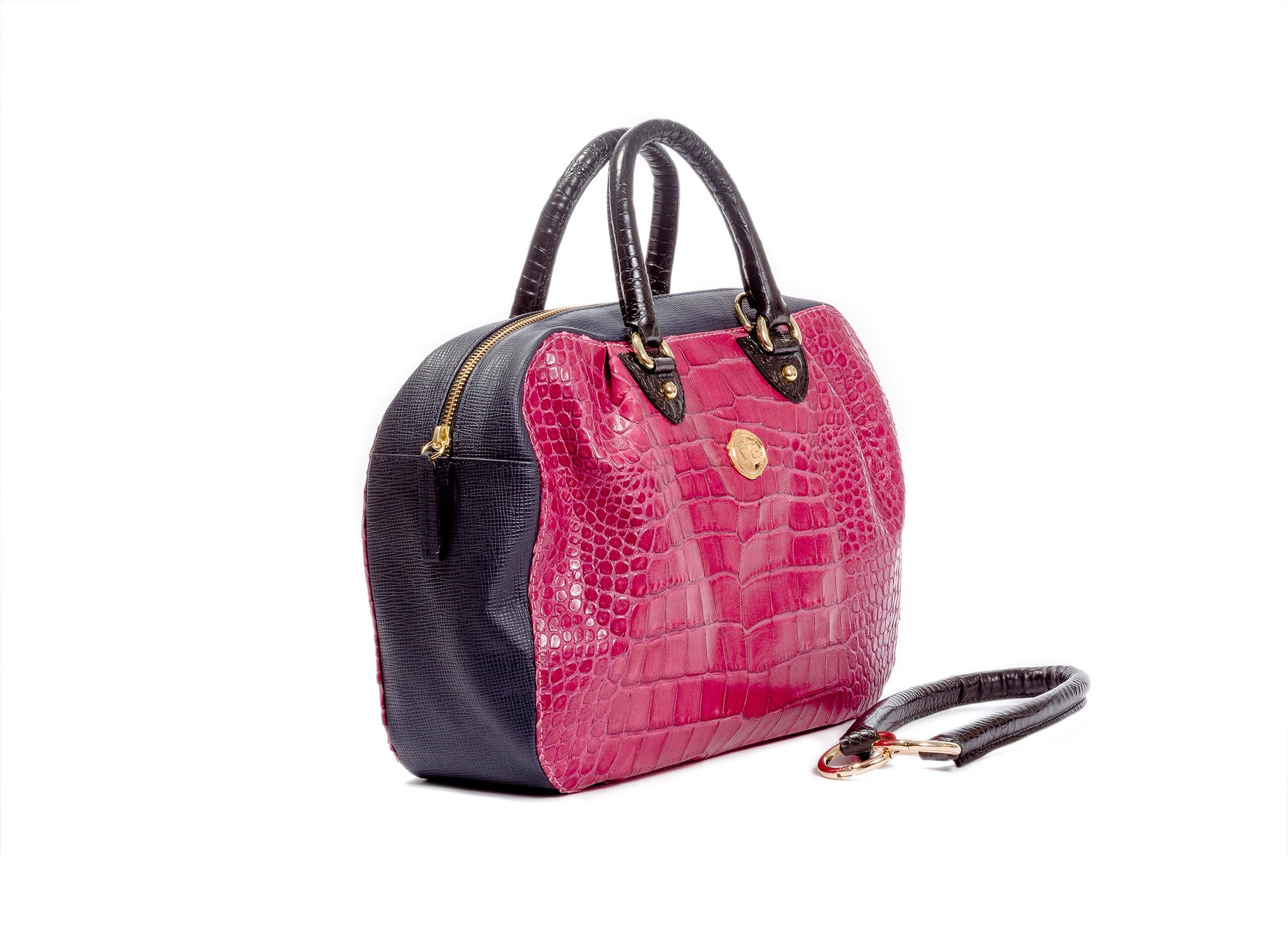 KALOS MEDIUM BAG RASPBERRY CROCODILE EFFECT CALF LEATHER