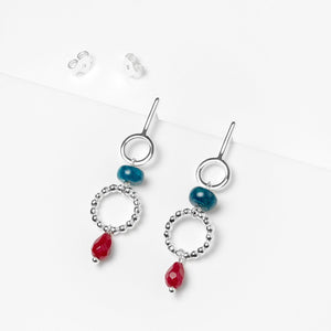 Sterling Silver Rigid Earrings with Apatite and Agate