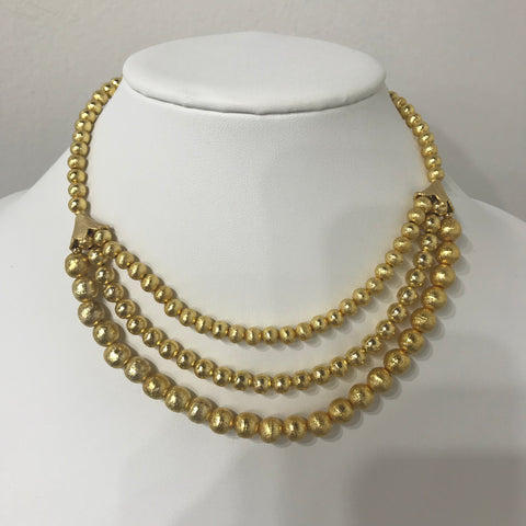 Gold Matte Three Layer Beaded Necklace